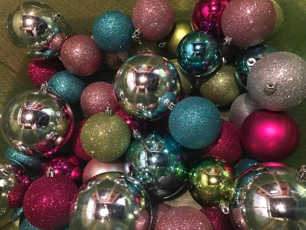Rainbow Assorted Color Sparkle Christmas Tree Ornament Balls Blue Pink Green Silver