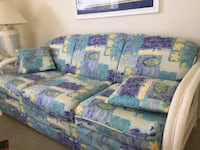 And green floral 3-seat sofa