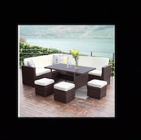 12 piece outdoor patio wicker sectional set with cushions, throw pillows and two extra wicker end tables included.... BRAND NEW OUT OF BOX.. ALREADY SET UP Corona, 92882