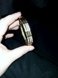 Golden Gemmed Steel Bracelet