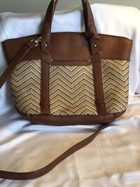 Brown and white leather tote bag Cambridge, 02139
