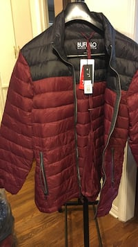 New $195 red and black buffalo bubble jacket