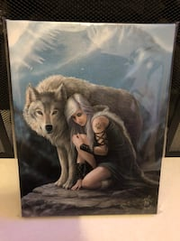 ANNE STOKES GUARDIAN LADY WOLF WALL CANVAS Halifax