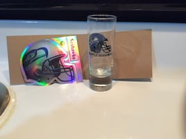Seattle Seahawks shot glass and sticker