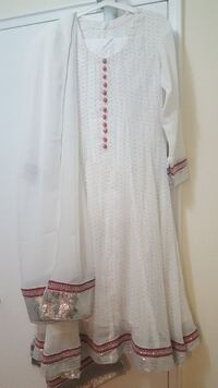 women's white long-sleeved dress with scarf