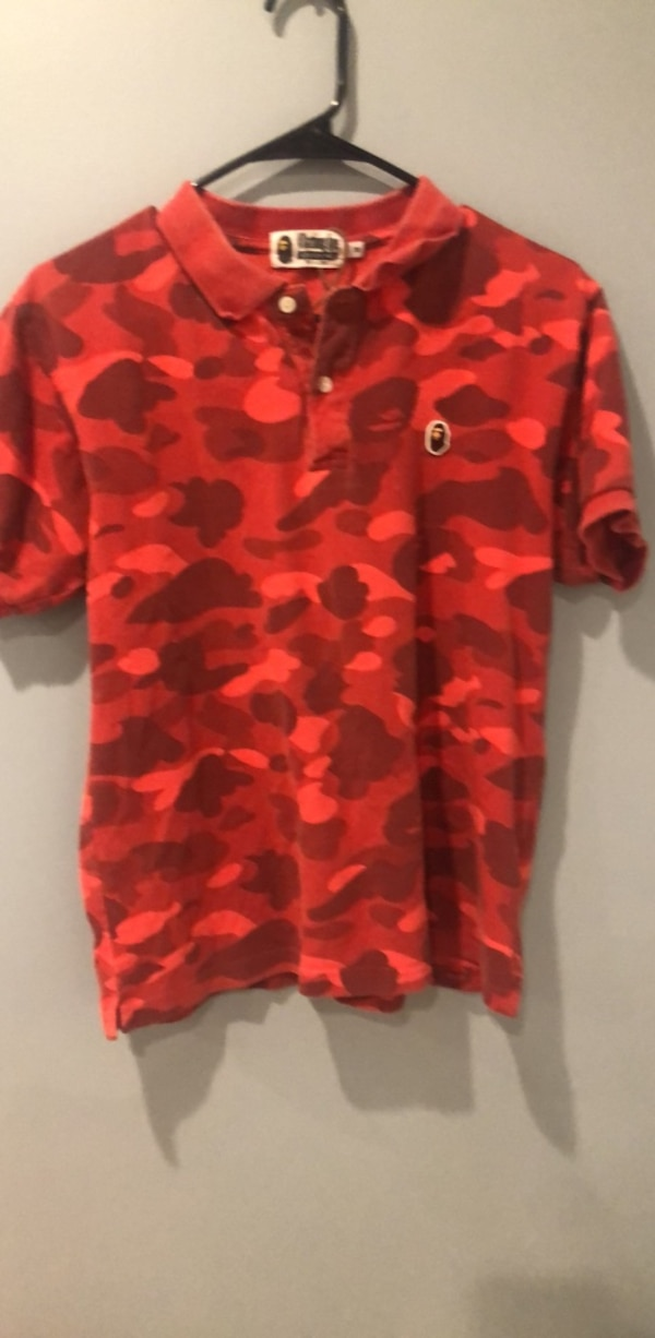 Red and black camouflage button-up shirt