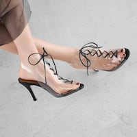 URBAN STYLE DODILO TRANSPARENT HIGH HEEL STILETTO SHOES WITH LACE UP