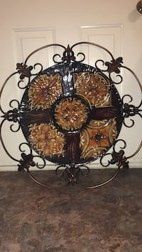 brown and black steel wall decor