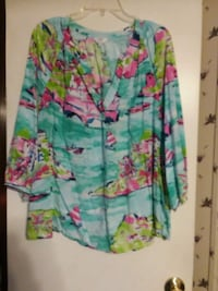 green, pink, and purple floral long sleeve shirt Joanna, 29351