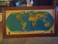 brown wooden frame with blue map Huntington Beach, 92647
