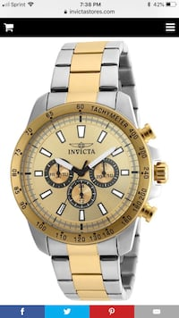 round gold-colored chronograph watch with link bracelet Longwood, 32750