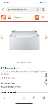 LG Electronic 27 inch in Pedestal with storage Drawer in white. Chesapeake, 23320
