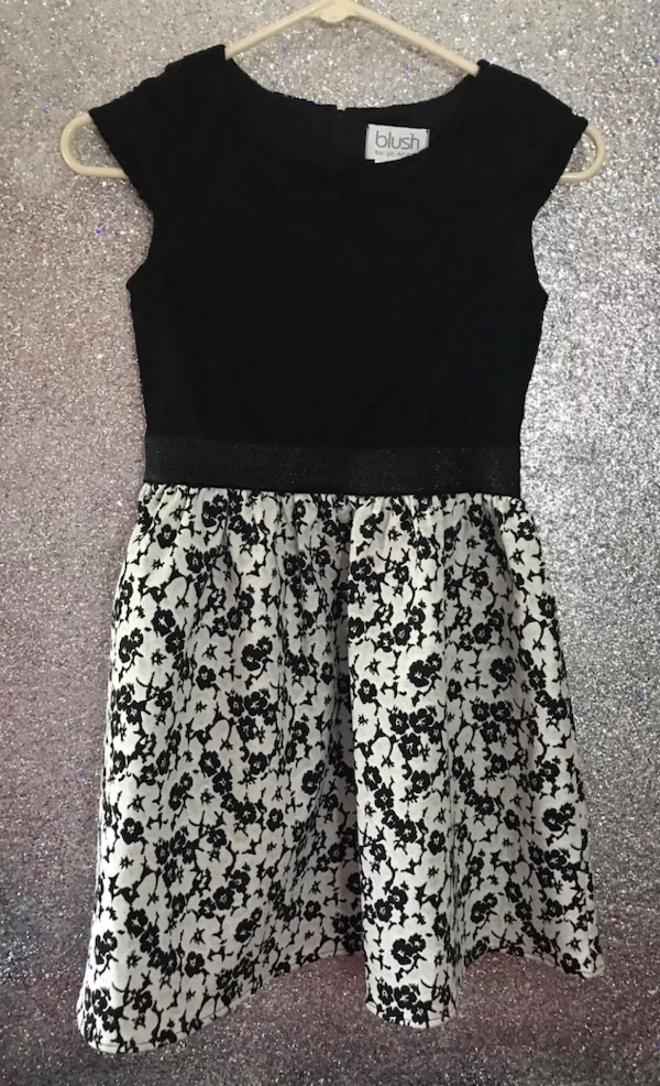 Used Blush By Us Angels Dress Girls Black Floral Lace Size 12 For