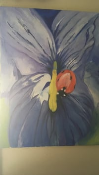 lady bug perched on purple orchid painting