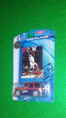 NBA Escalade trading card with die-cast toy car in box