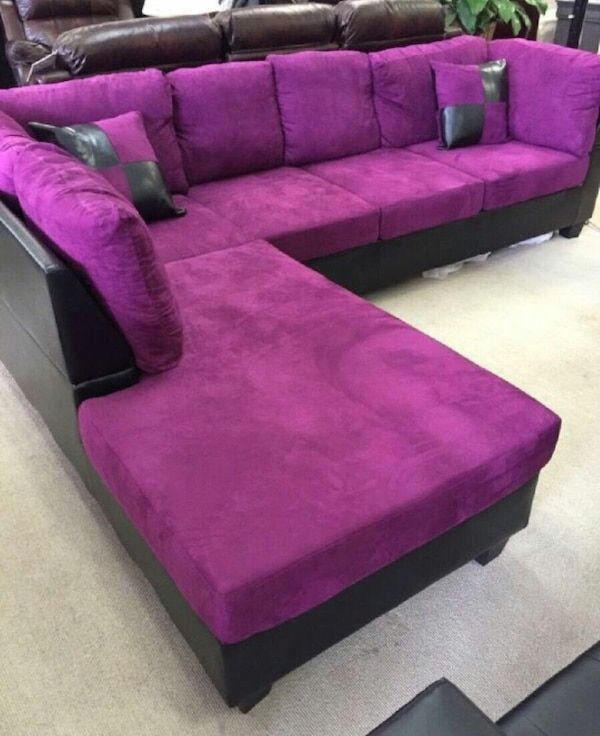 Awe Inspiring Purple Microfiber Sectional Couch Ibusinesslaw Wood Chair Design Ideas Ibusinesslaworg