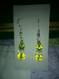 pair of beaded silver-colored and yellow hook earrings Inverness