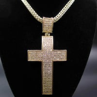 """Vintage Gold & Silver Tone """"Cream"""" Brand Bling Cross Pendant Thick Chain Necklace Hangs 23 Inches Costume Jewelry Beautiful Elegant Bold necklace  2292 mi"""