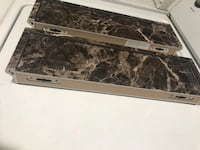 White and brown marble floating shelves  2254 mi