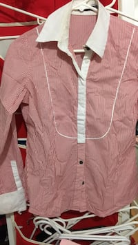 Pink and white striped button-up dress shirt Vancouver, V5P 2Z5