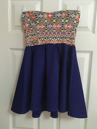 blue and brown floral strapless mini dress