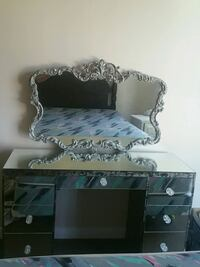 black and white wooden dresser with mirror Kelowna, V1Y 3J2