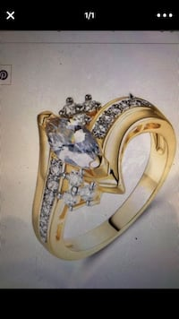 Beautiful Brand New Gold Plated Marquise Cut Engagement Ring Size 9 North Andover, 01845
