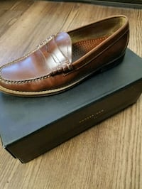 pair of brown leather loafers with box Cambridge, 02141