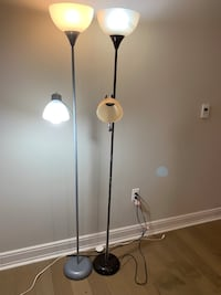 2 stand lamps brown and gray