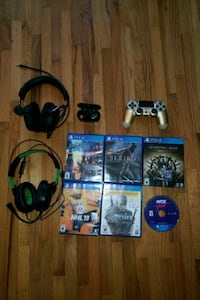 Everything in pic for sale (Controller, headsets, games, earbuds)