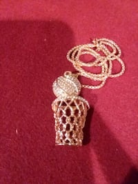 GOLD PLATED, CRYSTALS, BASKETBALL NECKLACE
