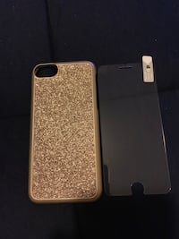 Glitter golden iphone case with glass screen protector