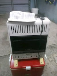 white gas heater with electric fan. Evansville, 47711