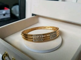Steel Golden Gemmed Locking Bangle Bracelet