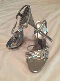 Pair of silver-colored floral accent heeled sandals West Lafayette, 47906