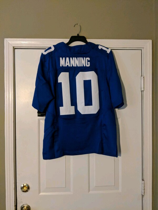 promo code 5a52f e34b5 blue and white Manning 18 jersey shirt