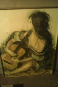 Charcoal painting.