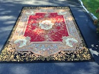 red, white, and green floral area rug Northport, 11768