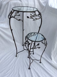 2 wrought iron and glass nesting tables
