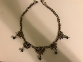 embroidered black and brown necklace