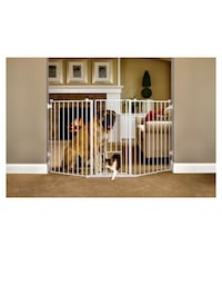 """Carlson Pet Products Extra Tall Flexi Gate with Pet Door 76"""" L X 38"""" H"""