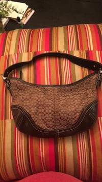 Brown and black coach leather hobo bag 1212 mi