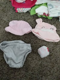 2 beanies 1 diaper cover and a pair of socks Rancho Cordova, 95670
