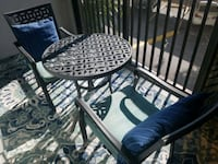 round metal patio table with two chairs Parrish, 34219