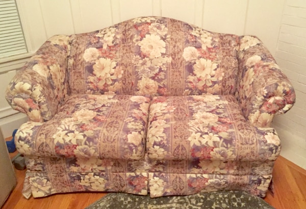 Awe Inspiring Sold Small Bouncy Floral Couch Onthecornerstone Fun Painted Chair Ideas Images Onthecornerstoneorg