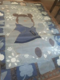 Brand new blue and white floral textile carpet