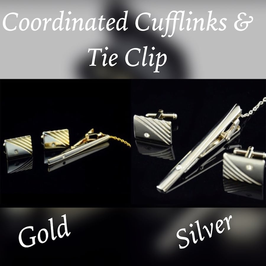 Coordinated Cuff Links & Tie Clip Sets