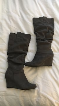 pair of black suede round-toe wedge knee-high boots Halifax, B3M 3N7
