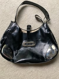 Black leather 2-way handbag