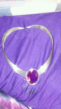 Silver and purple necklace never used Spring Hill, 34608
